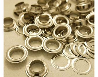 Metal Eyelets Grommets With Washers Silver Plated Metal, 14mm Barrel Diameter, Pack of 100 sets. (GW042-28S)