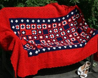 Bastille : Large vintage crochet afghan blanket, granny squares blue-white-red.