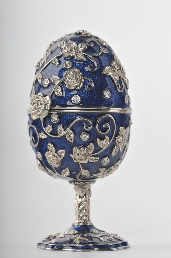 An Egg with a Blue Frog Trinket Box by Keren Kopal Faberge Swarovski Crystal
