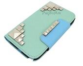 Mint Aqua Color Block Galaxy Note 2 Wallet Case Silver Metal Studs - ShopTrokm