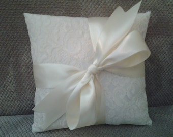 Classic Elegance Lace Vintage Style  Wedding Ring Pillow Available in Ivory and White