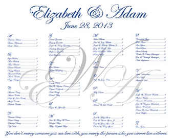 3 Monogram Elegant Wedding Seating Chart