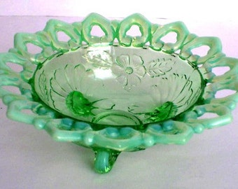 Candy Dish  Victorian Glass  Green Opalescent Late 19th Century