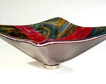 Raspberry and Chocolate Marble Fused Glass Vessel Sink: square hand crafted sit-on-top glass sink