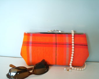 Free US Shipping Linen Bright Summer Tangerine Orange Fuschia Pink Plaid Madras Linen Clutch Purse Bag