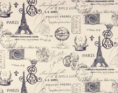 Drapery Fabric, Paris Fabric, Navy Eiffel Tower, Navy Blue And Ivory French Script Fabric, French Document, Fabric By The Half Yard