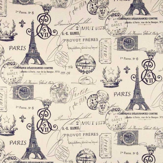 excellent french script fabric by the yard. Like this item  Drapery Fabric Upholstery Paris Navy Eiffel