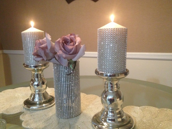 wedding table decor with candles items similar to wedding bling pillar candle and candle 1170
