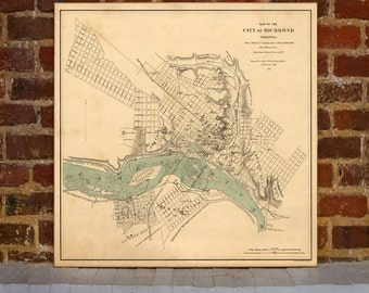 1858 Richmond Vintage Map Canvas Print