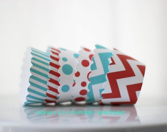 Red and Aqua Cupcake Wrappers- MADE TO ORDER- Set of 12