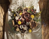 Woodsy wedding bouquet, rustic bridal bouquet, dried and natural flower wedding bouquet
