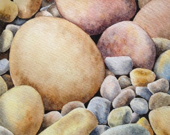 Original watercolor painting , stones,wall decor