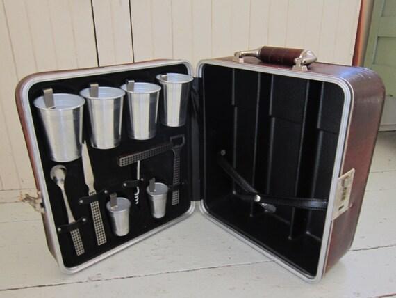 Travel Bar Vintage Cocktail Set Leather Suitcase Aluminum