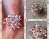 Handmade Swarovski Cluster Rose Colour Ring