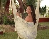 Large Hammock Chair Swing. Cotton or Nylon. Thick Cord. Handmade woven knit. ECRU. Father's day Sale: FREE hanging ropes