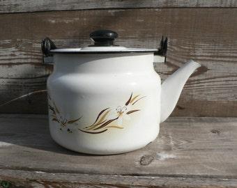 Soviet Vintage enamel Tea/coffepot. Made in USSR, Soviet era.