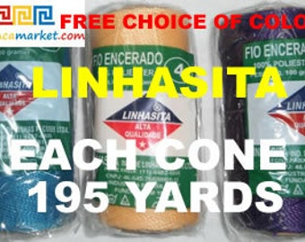 12 x 195 YARDS LINHASITA waxed polyester cord 1 mm FREE choice of colors 12 x 180 meter
