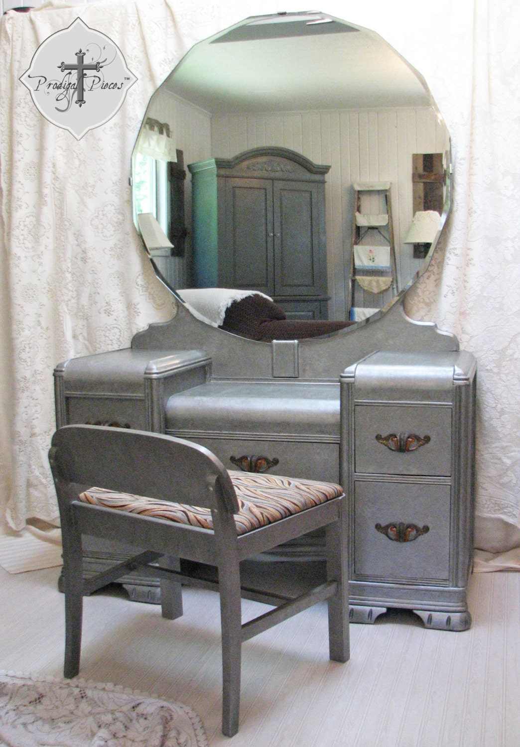 Vintage Art Deco Waterfall Dressing Table Vanity With Bench