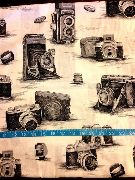 Items Similar To Vintage Camera Fabric By The Yard Cotton