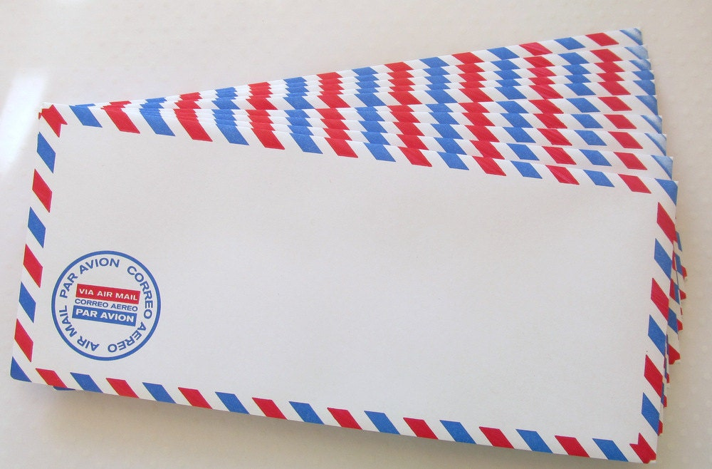 10 Air Mail Envelopes Airmail Envelope Wedding Envelope