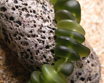 Frosted Glass Pebbles Full Strand Kelly Green Color Center Drilled