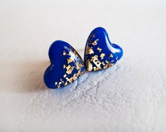 Royal Blue Gold Heart Stud Earrings - Polymer Clay and Resin Jewelry