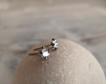Tiny Swarovski Snowflake Stud Earrings - Hypoallergenic Surgical Steel Posts - Everyday Jewelry