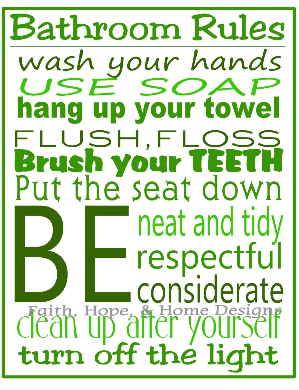 Green Bathroom Rules Wall Art Poster 8x10 Digital Art Download Printable  E Print Print