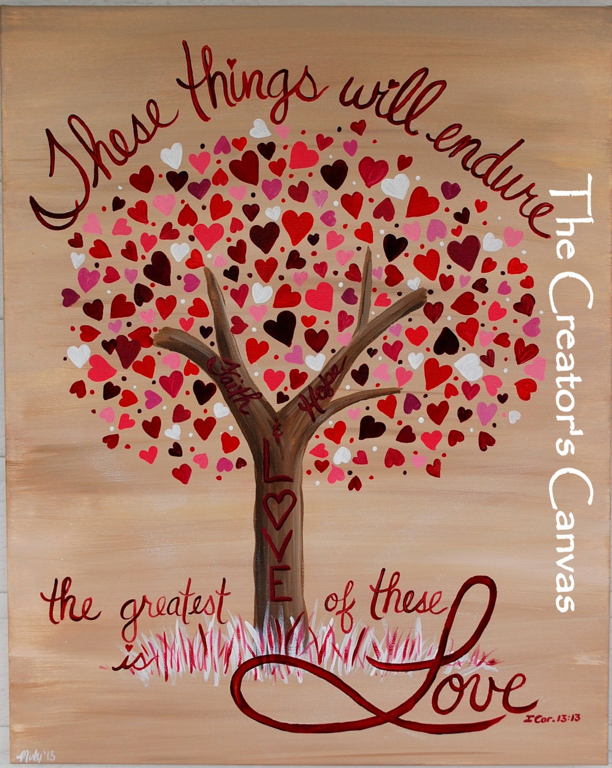 Faith Hope and Love Painting. Scripture Bible Verse Love