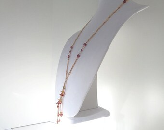 Long Boho Necklace, Long Boho Pendants Necklace, Long Purple Pendants Necklace, Long Gold Boho Pendants Necklace, Long Boho Purple Necklace