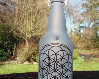 1 Liter Flower Of Life Amber Glass Water Bottle