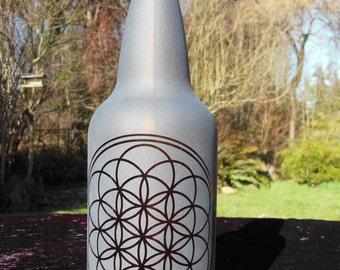 1 liter sri yantra amber glass wasserflasche. Black Bedroom Furniture Sets. Home Design Ideas