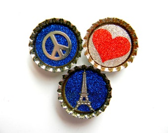 Peace Love Paris in Blue Red and Silver Glitter Resin Filled Bottle Cap Magnet Set of 3
