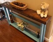 Unique Primtiques Dark Walnut Stained Mountain Blue Painted 5-Foot SOFA Console Entry Table W/Bottom Shelf Custom Sizes Colors 8-3/4x60x30h