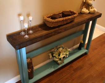 Beautiful Dark Walnut Stained Blue Painted 8 3/4x60x33h 5 Foot Console Hall
