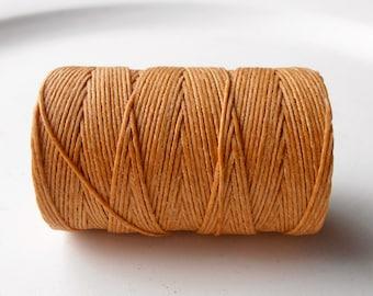 Butterscotch Yellow 4ply Irish waxed linen cord 4ply (10 yards) - yellow linen cord, irish waxed linen cord, irish waxed linen thread, uk