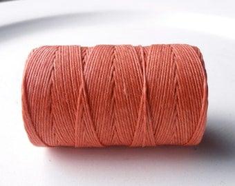 Coral Reef (Salmon) 4ply Irish waxed linen cord (10 yards), pink/orange, Irish waxed linen, irish waxed linen thread, salmon linen cord, uk