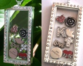 Glass memory Locket silver plated