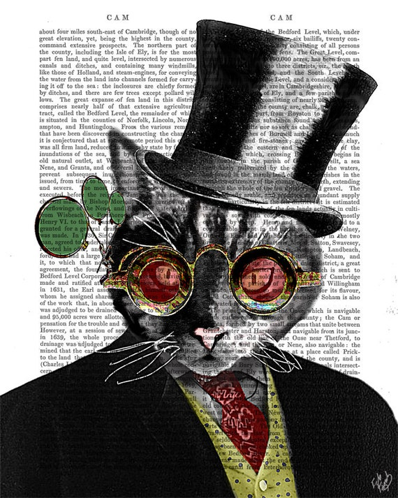 Steampunk Cat In Top Hat Art Print, wall art wall decor upcycled recycled dictionary book page art print, cat picture