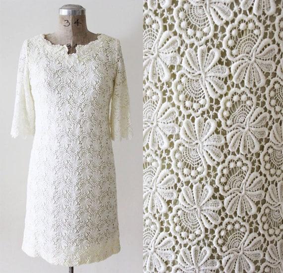 Vintage 1960s Lace Dress 60s Lace Dress White Lace Dress