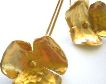 Silver earrings, flower silver earrings, goldplated silver earrings, long earrings, women's jewelry