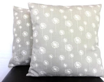 Decorative Throw Pillow-Set of 2, 18x18 Grey Dandelion