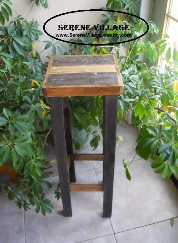 Items similar to rustic solid wood plant stand reclaimed