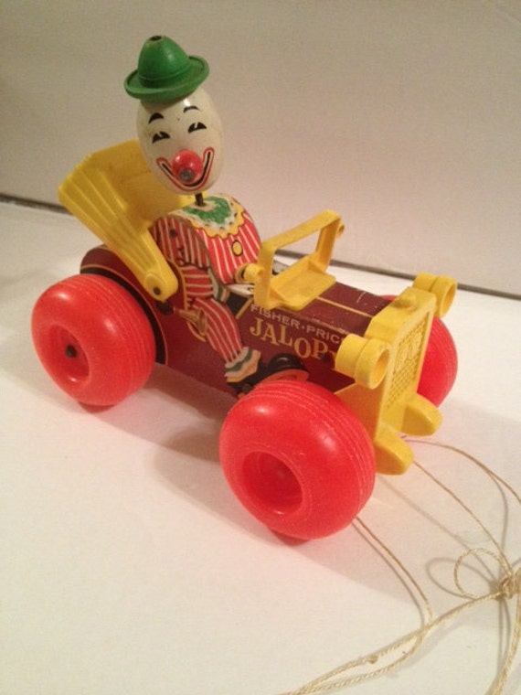 Items similar to fisher price vintage wood jalopy clown for Clown fish price
