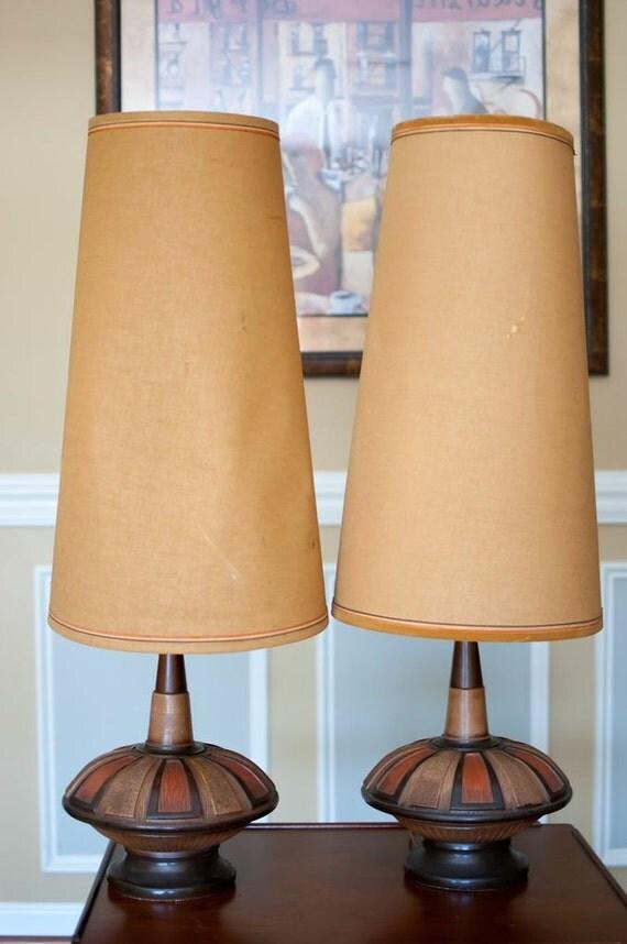 Vintage mid century lamp eames era ceramic teak for Eames lampe