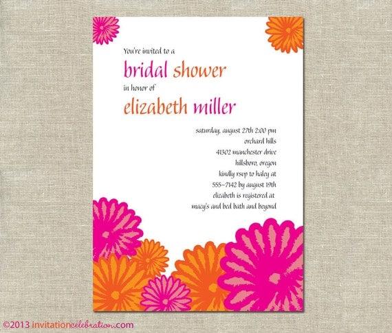 Bright Tropics Bridal Shower Invitation - PRINTABLE - Pink and Orange ...