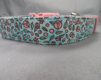 Little Pink Flowers on Blue Dog Collar
