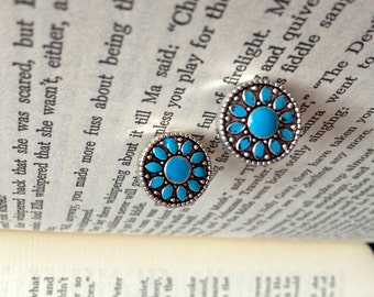 Teal Circle Stud Earrings