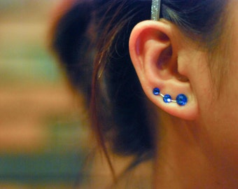 Royal Blue Rhinestone Ear Climbers - Swarovski Elements