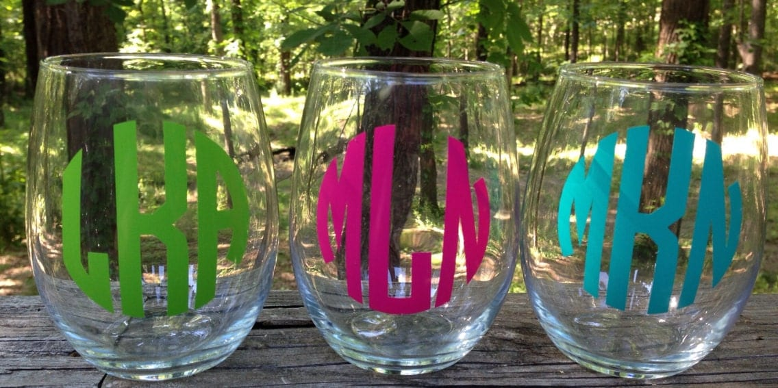 Monogrammed Stemless Wine Glass Stemless Wine Personalized